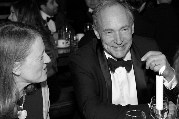Sir Tim Berners-Lee, recipient of an OII Lifetime Achievement Award; OII Director Helen Margetts at left.