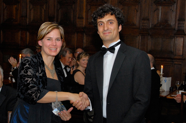 Jennifer Pahlka receives her Internet and Society Award from OII Fellow Mark Graham, at the 2012 OII Internet Awards dinner.